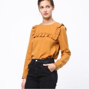 Anthropologie Mo vint Yoke Ruffle blouse size S